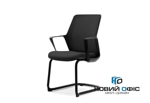 Крісло офісне flo black конференц на полозах | Фото - 0