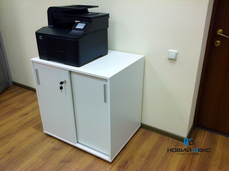 Тумба під принтер з розсувними дверима на 2 полиці 80х80х60 арт. Ur-222-1SL | Фото - 2