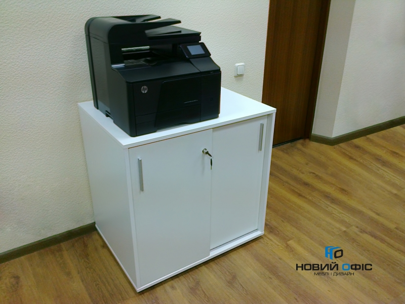 Тумба під принтер з розсувними дверима на 2 полиці 80х80х60 арт. Ur-222-1SL | Фото - 1