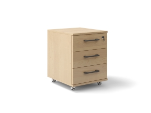 Тумбочка офісна на колесиках в кольорі береза на 3 ящика 42х56х47 арт. Ucm-13