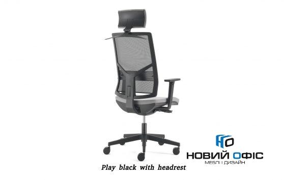 Крісло офісне на роликах play black з підголовником | Фото - 1