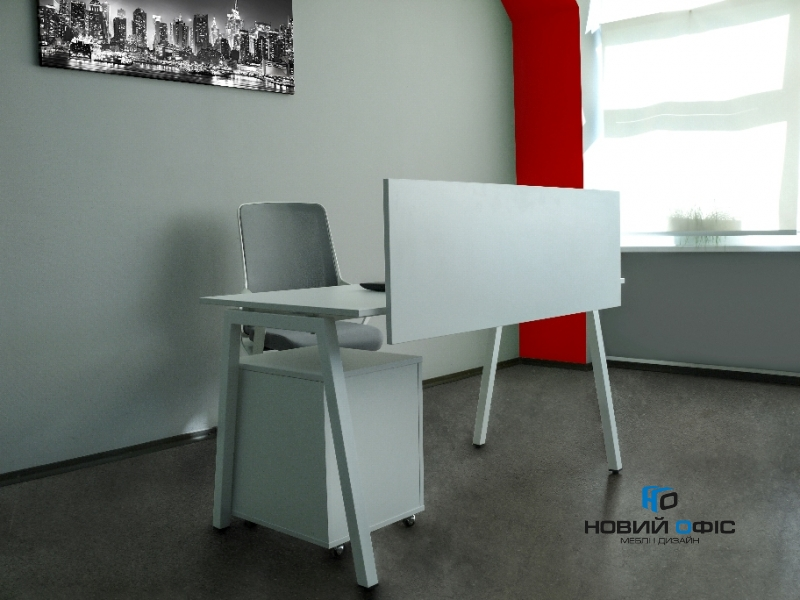 Стильний офісний стіл в білому кольорі 140х75х70rd-1470 | Фото - 3