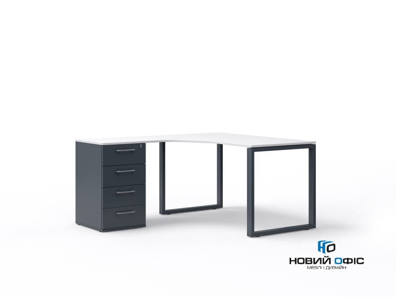 кутовий офісний стіл тумбовий 140х75х157/70 kqd-14157-L/R | Фото - 3